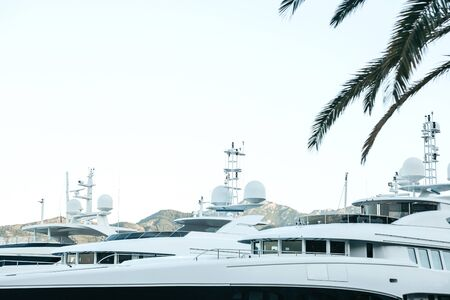 Beautiful view of yachts in the port of Montenegro.