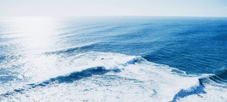 View of the blue sea or ocean with horizon background.