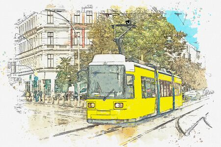 Watercolor sketch or illustration of a tram in Berlin. Stock Photo
