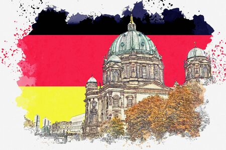 A watercolor sketch or illustration of the Berlin Cathedral called Berliner Dom against the background of the German flag. Berlin, Germany. City architecture. Banco de Imagens