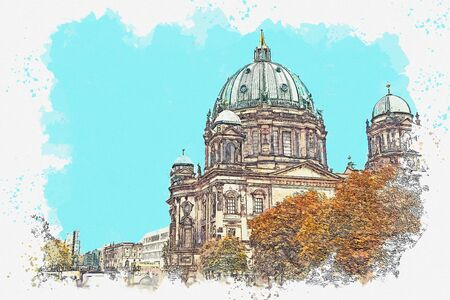 A watercolor sketch or illustration of the Berlin Cathedral called Berliner Dom. Berlin, Germany. City architecture. Stock Photo