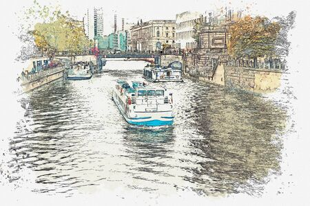 A watercolor sketch or illustration of a tourist boat sailing on the Spree River in Berlin. Banco de Imagens