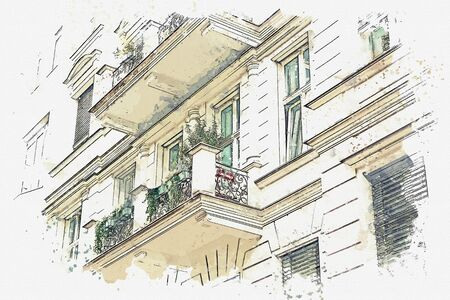Watercolor sketch or illustration of a beautiful view of an ordinary modern apartment building