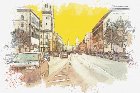 Watercolor sketch or illustration of a traditional street in Munich in Germany. Cars ride on the road or on the street
