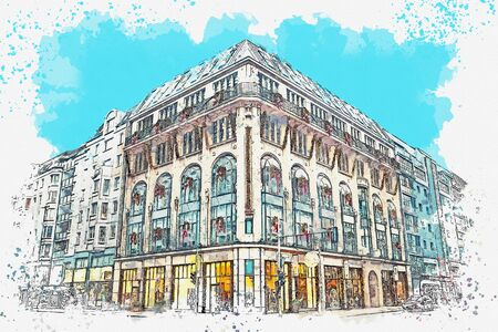 Watercolor sketch or illustration of a beautiful view of an ordinary modern apartment building in Germany Stock fotó