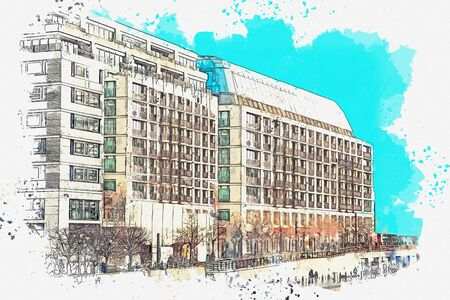 Watercolor sketch or illustration of a beautiful view of an ordinary modern apartment building in Berlin in Germany