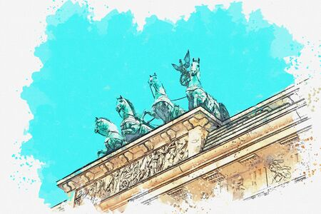Watercolor sketch or illustration of a beautiful view of the Brandenburg gate in Berlin in Germany.