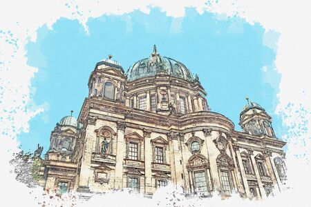 A watercolor sketch or illustration of the Berlin Cathedral called Berliner Dom. Berlin, Germany. City architecture. Banco de Imagens