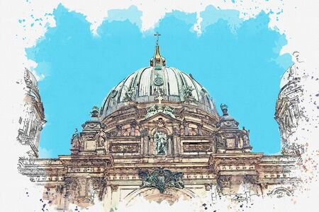 A watercolor sketch or illustration of the Berlin Cathedral called Berliner Dom. Berlin, Germany. City architecture. Foto de archivo - 130609266