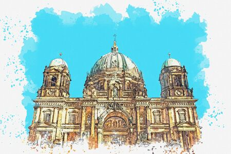 A watercolor sketch or illustration of the Berlin Cathedral called Berliner Dom. Berlin, Germany. City architecture. Foto de archivo - 130609277
