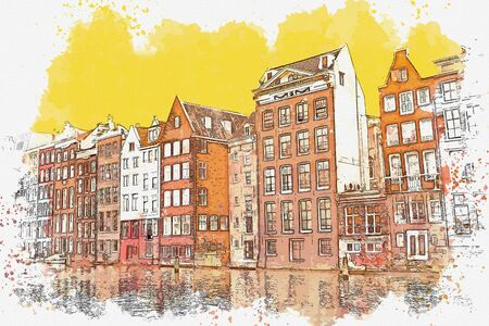 Watercolor sketch or illustration of traditional architecture in Amsterdam in the Netherlands Foto de archivo - 130609276