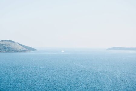 Beautiful view of the blue sea or view of the horizon. Natural landscape.