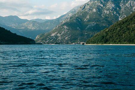 Beautiful view of Boko Kotor Bay. Natural coastal landscape in Montenegro.
