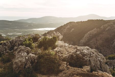 Beautiful view of the natural mountain landscape in Montenegro at sunset. Banco de Imagens