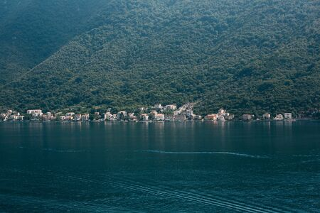 Boko Kotor Bay. Beautiful sea and mountain views of the natural landscape and coastal city in Montenegro.