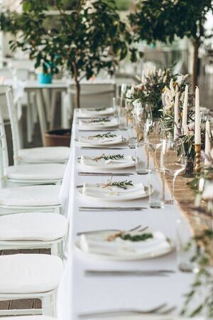 Table setting and decoration for a ceremony or celebration.