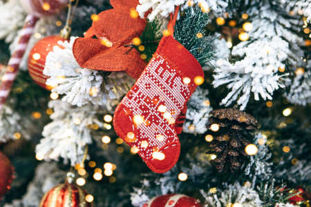 Christmas stocking on a Christmas tree and other decoration background. Reklamní fotografie