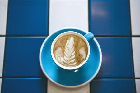 Closeup of fresh cappuccino coffee