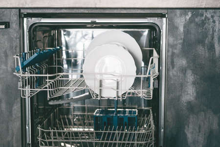 Close-up of plates in the dishwasher