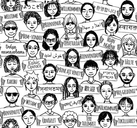 """Naadloos patroon van een groep van de hand getekende mensen die """"welkom"""" borden in verschillende talen"""