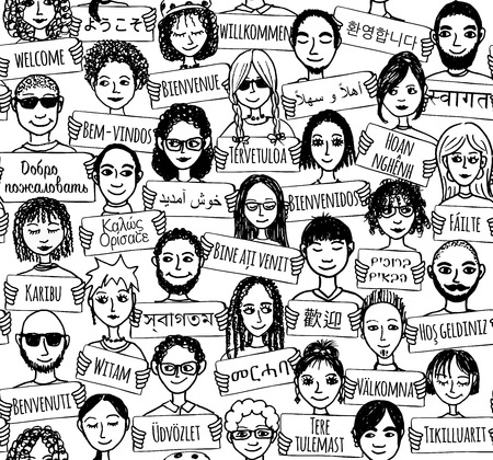 Seamless pattern of a group of hand drawn people holding welcome signs in different languages