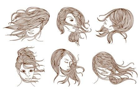 to wind: dibujado a mano ilustración de la mujer con el pelo largo