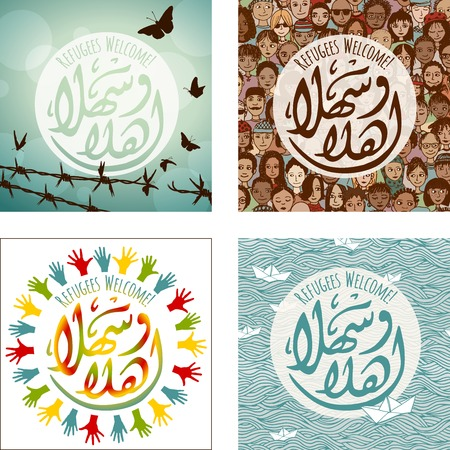 arabic: Set of four Refugees Welcome images, in English and Arabic saying Welcome ahlan-wa-sahlan