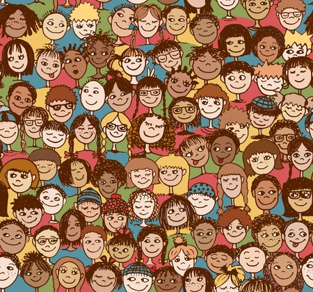 mixed family: Kids - Hand drawn seamless pattern with cute faces of children from diverse cultural  ethnic backgrounds - in color
