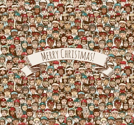 Merry Christmas! - huge crowd of hand drawn people with hats and scarves in winter celebrating Christmas seamless pattern with removable banner Ilustração