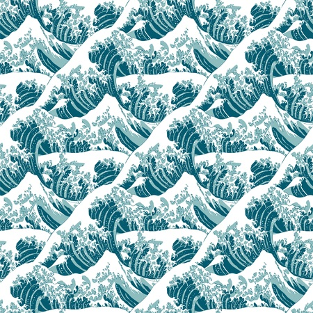 Seamless pattern of the great wave off Kanagawa Stock Illustratie