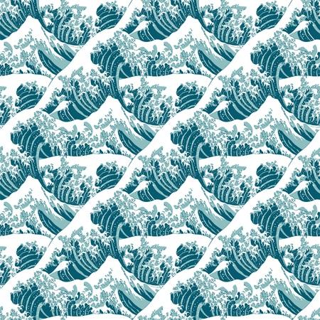 Seamless pattern of the great wave off Kanagawa Illustration