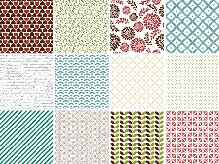 12 簡単なシームレス パターンのセット  イラスト・ベクター素材