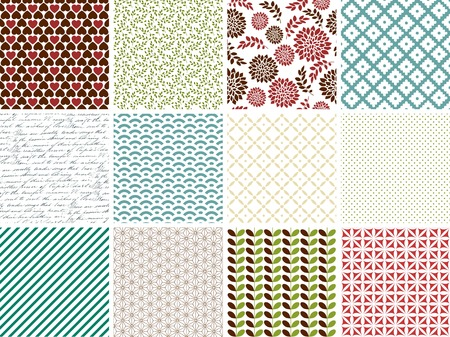 Set of  twelve simple seamless patterns