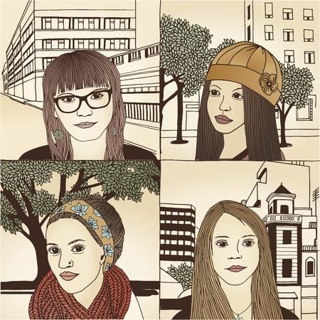 Portraits dessinés à la main des femmes de diverses origines culturelles - n ° 2 - couleur Banque d'images - 48042645