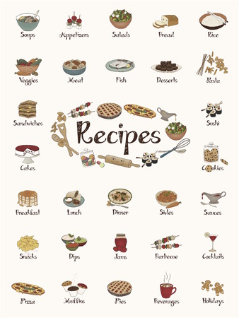 Food items  recipe stickers  cute hand-drawn illustrations