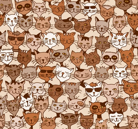 Seamless pattern of cute cats