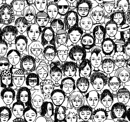 mucha gente: La gente infeliz - dibujado a mano sin patrón de una multitud de diferentes personas que están tristes y decepcionados