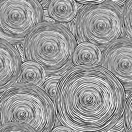 Hand drawn seamless pattern with abstract circles