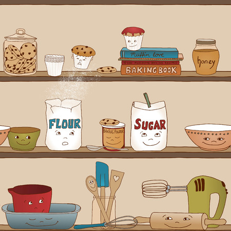 Cute illustration of baking utensils in a kitchen shelf seamless pattern