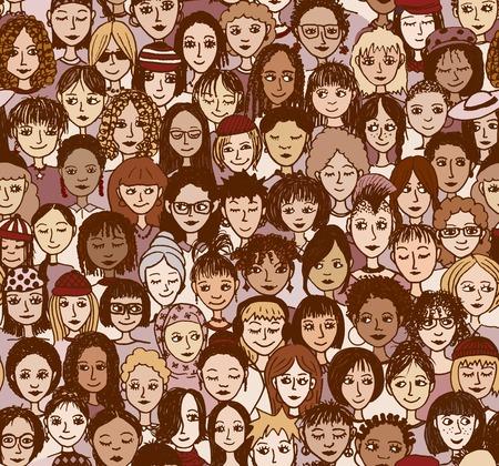 vrouwen: Vrouwen - hand getrokken naadloze patroon van een menigte van verschillende vrouwen uit verschillende etnische achtergronden