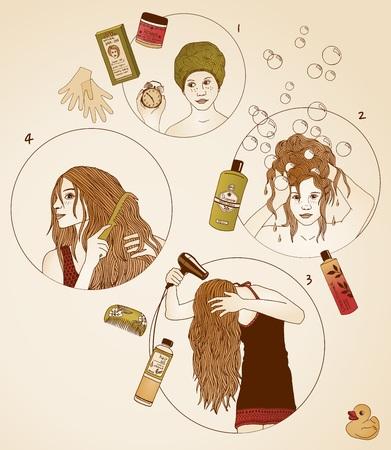 tinte cabello: dibujado a mano ilustraciones de cuidado del cabello