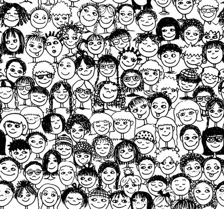 Kinderen - Hand getekend naadloos patroon met leuke gezichten van kinderen van diverse culturele etnische achtergronden - in zwart-wit