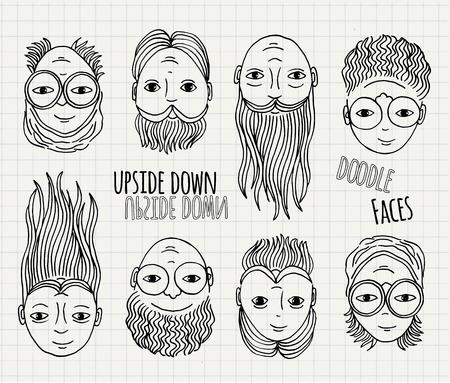 ojo humano: Dibujado a mano caras del doodle del rev�s