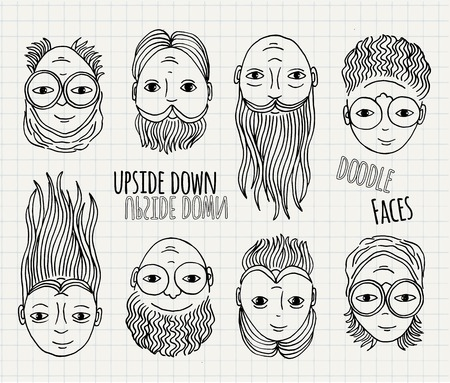 upside: Hand drawn upside down doodle faces Illustration