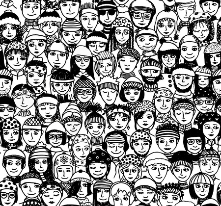 Winter people - seamless pattern of a crowd of smiling people from different cultural and ethnic backgrounds with winter hats and scarfs Çizim