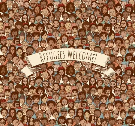 migrant: Refugees Welcome! Tileable background pattern of hand drawn faces with removable banner