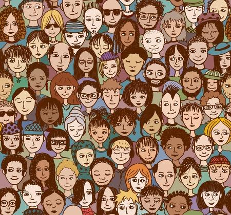 Gente feliz: dibujados a mano sin patrón de una multitud de muchas personas diferentes de diversos orígenes étnicos que sonríen y son felices Ilustración de vector