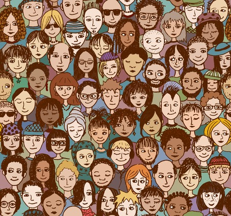 young people fun: Happy people - hand drawn seamless pattern of a crowd of many different people from diverse ethnic backgrounds who are smiling and happy