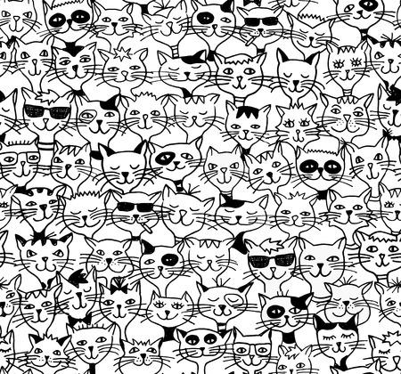 かわいい猫 - 黒と白の図面のシームレス パターン