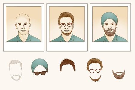 shaved head: Metamorphosis - guy, hand drawn illustration